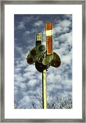 Framed Print featuring the photograph Railroad Semaphore Signal 10 Color 2 by Joseph C Hinson Photography