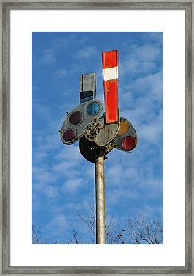 Framed Print featuring the photograph Railroad Semaphore Signal 10 Color by Joseph C Hinson Photography