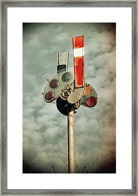 Framed Print featuring the photograph Railroad Semaphore Signal 10 Vintage by Joseph C Hinson Photography