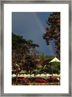 Rainbow Ended At The Church Framed Print