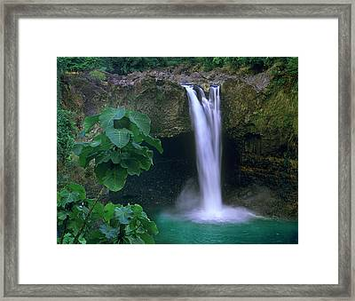 Rainbow Falls Cascading Into Pool, Big Framed Print by Tim Fitzharris/ Minden Pictures