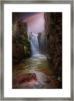 Framed Print featuring the photograph Rainbow Falls / Glacier National Park  by Nicholas Parker
