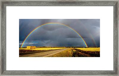 Rainbow Over Crop Land Framed Print