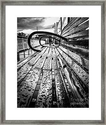 Rainy Days Bench Framed Print by JMerrickMedia