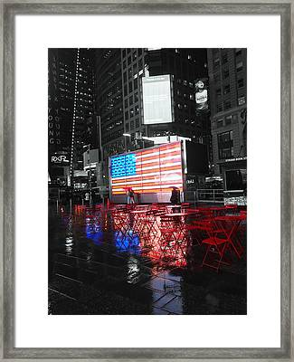 Rainy Days In Time Square  Framed Print