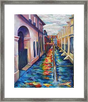 Rainy Pirate Alley Framed Print