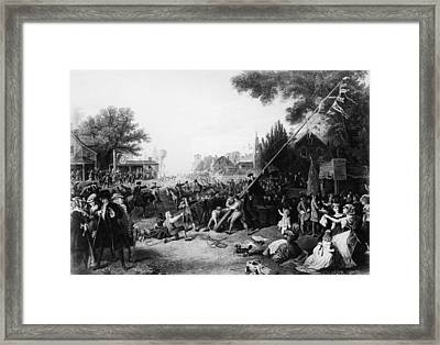 Raising The Liberty Pole In New York Framed Print by Hulton Archive