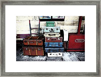Ramsbottom.  Elr Railway Suitcases On The Platform. Framed Print