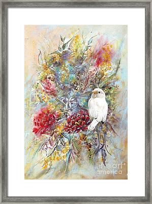 Rare White Sparrow - Portrait View. Framed Print