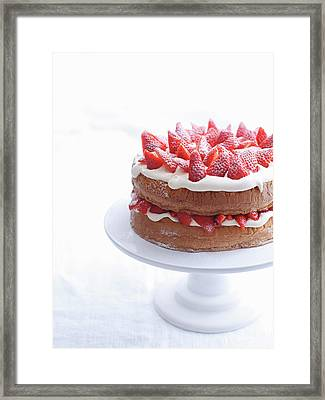 Raspberry Layer Cake On Platter Framed Print by Cultura Rm Exclusive/brett Stevens