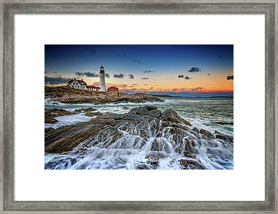 Framed Print featuring the photograph Receding Cascade At Portland Head by Rick Berk