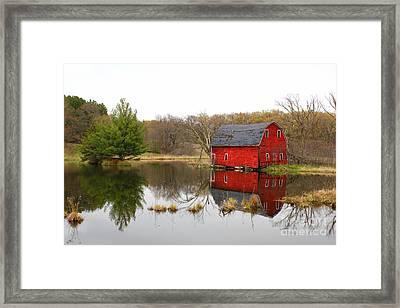 Red Barn Reflections Framed Print