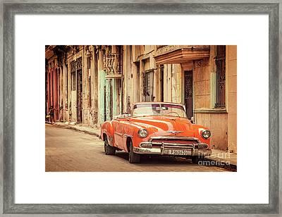 Red Car In Old Havana Framed Print