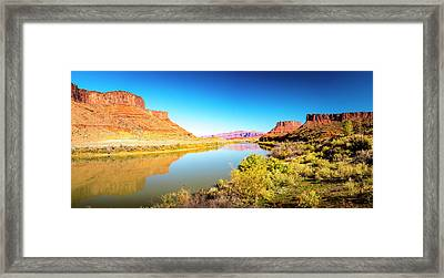 Framed Print featuring the photograph Red Cliffs Canyon Panoramic by David Morefield