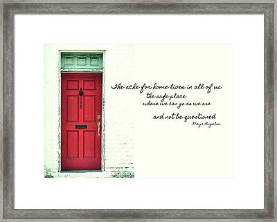 Red Door Quote Framed Print