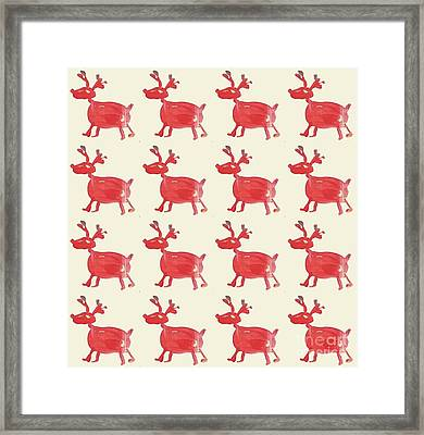 Framed Print featuring the painting Red Reindeer Pattern by Maria Langgle