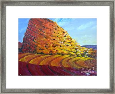 Framed Print featuring the painting Red Rocks by Saundra Johnson