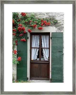 Red Rose Door Framed Print