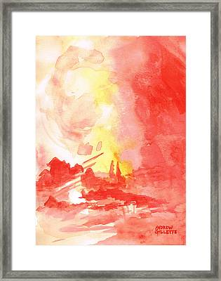 Red Village Abstract 1 Framed Print