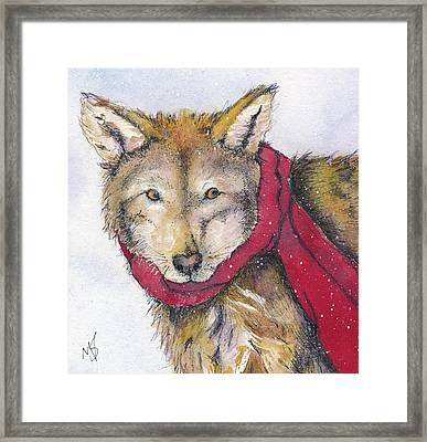 Red Wolf And Scarf Framed Print