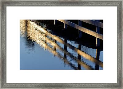 Framed Print featuring the photograph Reflected Fence At Sunrise by Jerry Sodorff