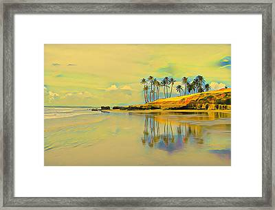 Reflection Of Coastal Palm Trees Framed Print