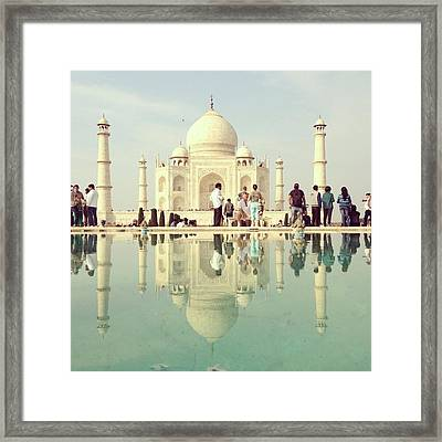 Reflection Of People In Front Of Taj Framed Print by Amanda P / Eyeem