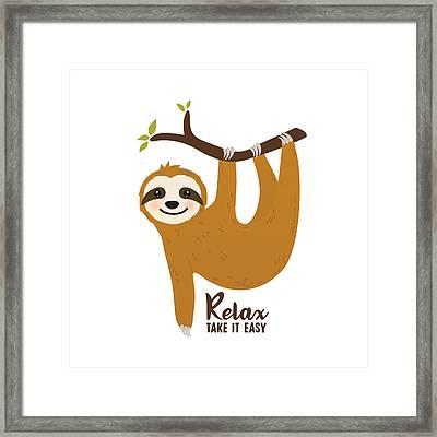Relax Take It Easy - Baby Room Nursery Art Poster Print Framed Print