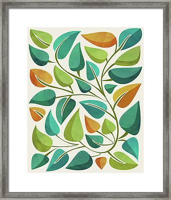 Framed Print featuring the mixed media Retro Tropical Greenery by Kristian Gallagher