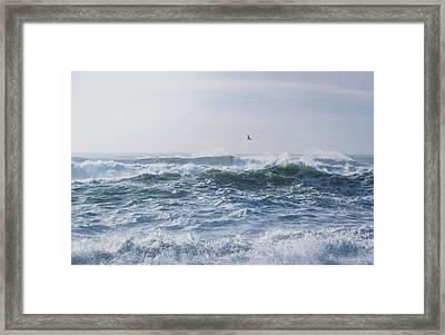 Reynisfjara Seagull Over Crashing Waves Framed Print