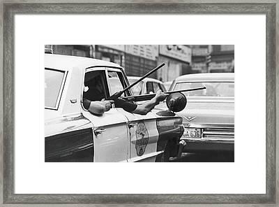 Riding Shotgun During Newark Riots, 1967 Framed Print