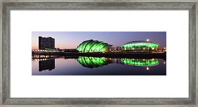 Framed Print featuring the photograph River Clyde Waterfron Twilight Reflections by Grant Glendinning
