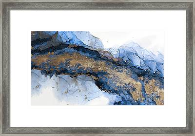 River Of Blue And Gold Abstract Painting Framed Print