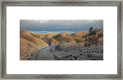 Framed Print featuring the painting Road To Emmaus by Peter Mathios