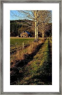 Framed Print featuring the photograph Road To The Barn by Jerry Sodorff