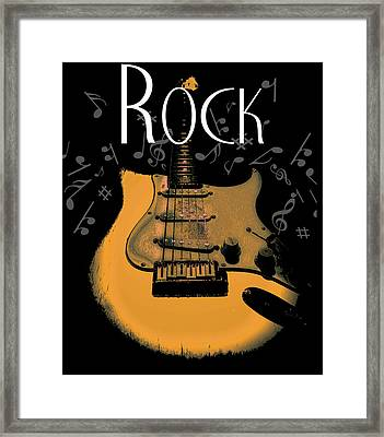 Framed Print featuring the digital art Rock Guitar Music Notes by Guitar Wacky