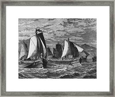 Roman Fleet Framed Print by Hulton Archive