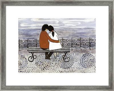 Romance On The Sea Side Framed Print by Georgiana Chitac