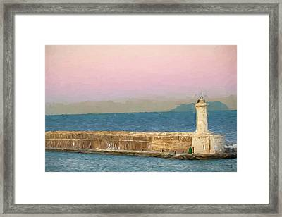 Civitavecchia Seaport At Sunrise Framed Print by Tony Grider