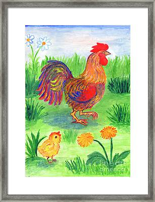 Rooster And Little Chicken Framed Print