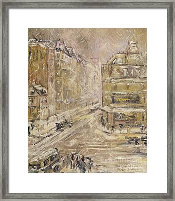Rue De Clignancourt Under Snow, 1924 Framed Print