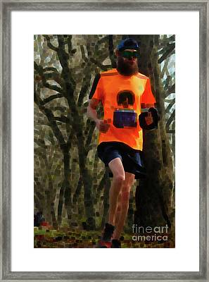 Running On Orange  Framed Print by Steven Digman