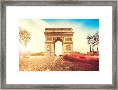 Rush Hour At The Arc De Triomphe In Framed Print by Franckreporter