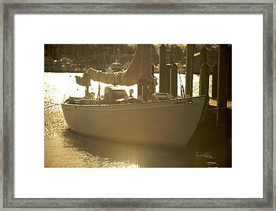 Framed Print featuring the photograph Sailboat In Morning Light by Mark Duehmig