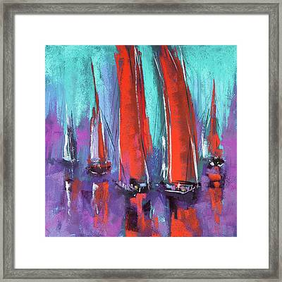 Framed Print featuring the pastel Sailing by David Patterson