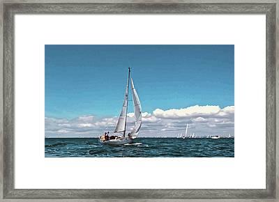 Sailing Regatta On A Brisk Summer's Day Framed Print