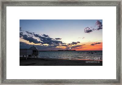 Framed Print featuring the photograph Saint Sebastian Lighthouse At Dusk Cadiz Spain by Pablo Avanzini