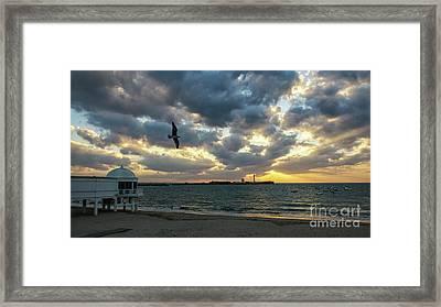 Framed Print featuring the photograph Saint Sebastian Lighthouse At Sunset Cadiz Spain by Pablo Avanzini