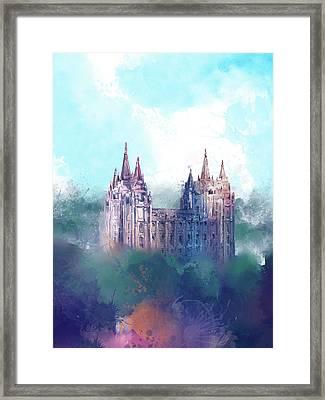 Salt Lake City Temple Watercolor 2 Framed Print