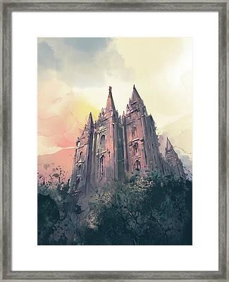 Salt Lake City Temple Watercolor 3 Framed Print